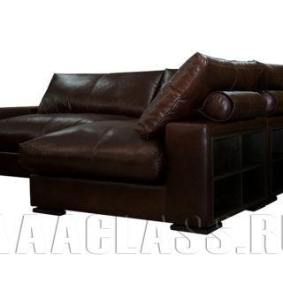 модульный диван в гостиную на заказ в коже по индивидуальным параметрам