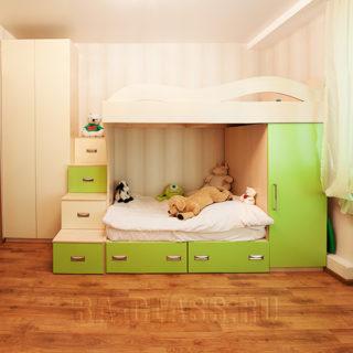 детская двухуровневая кровать на заказ в Москве от мебельного ателье ААА-Классика