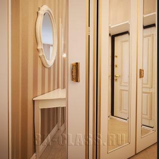 Встроенный шкаф-купе из мдф в прихожую на заказ от мебельного ателье ААА-Классика