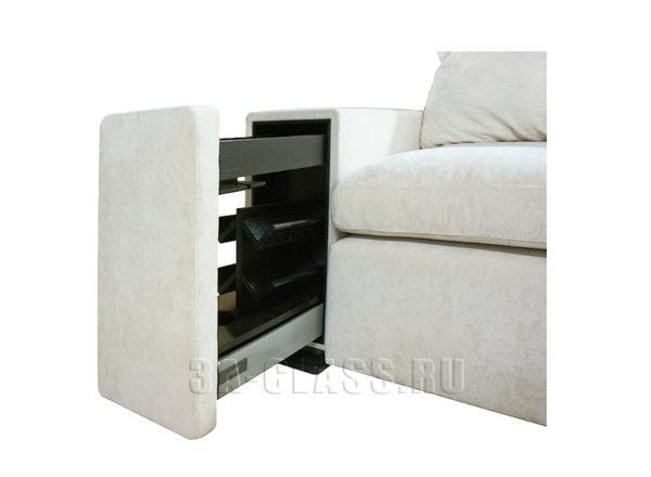 диван с библиотекой в локотнике на заказ по индивидуальным проектам в Москве от мебельного ателье ААА-Классика