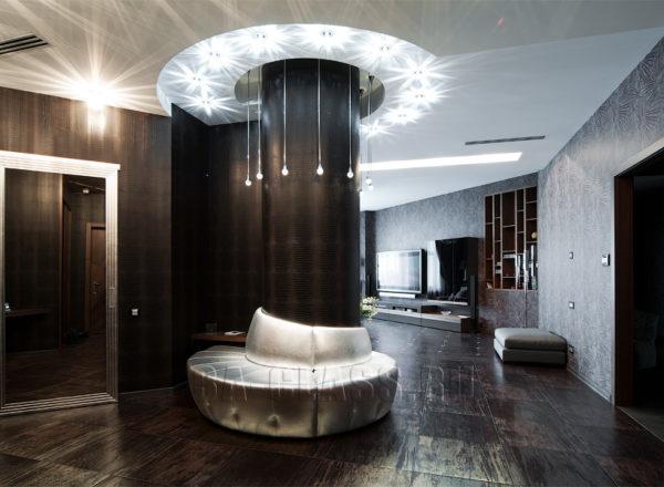 круглый диван на заказ с колонной на заказ по индивидуальным размерам в Москве