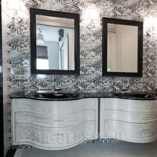 Дизайнерская ванная комната в черном и белом