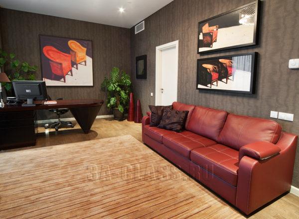 Большой кожаный диван на три секции на заказ по индивидуальному проекту в Москве
