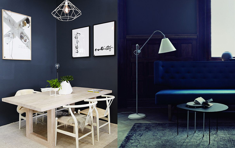 черно синий интерьер