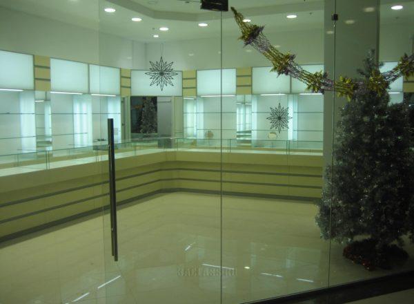 Стеклянные входные двери в магазин
