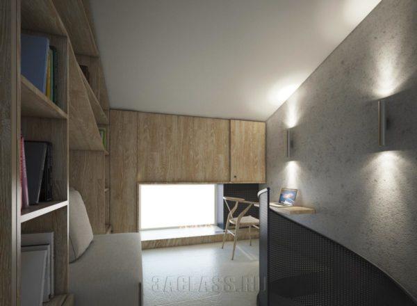 коридор с наклонным потолком