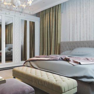 спальня с кроватью и шкафом