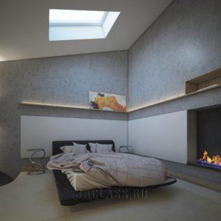 темная спальня с камином