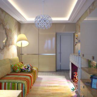 Необычная гостиная с камином
