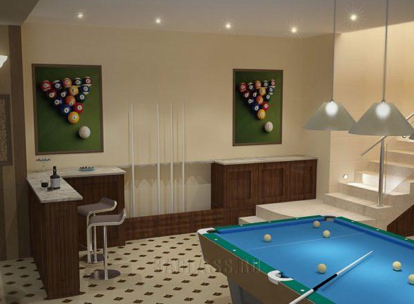 Дизайн бильярдной комнаты
