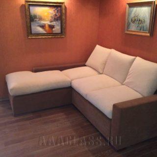 бело-коричневый диван на заказ по индивидуальным размерам в Москве