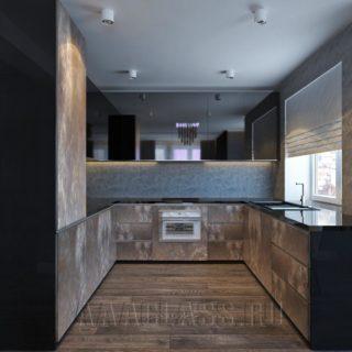 встроенная темная кухня