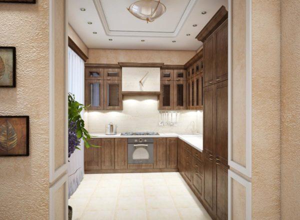 встроенная деревянная кухня