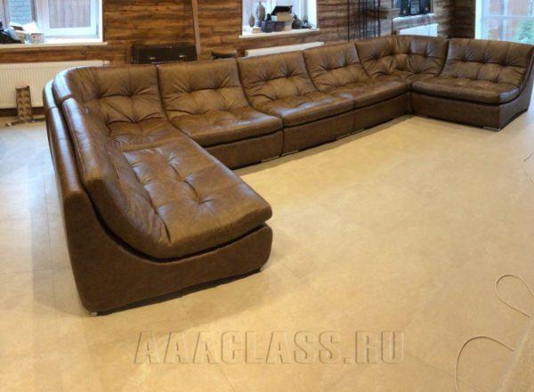 п образный кожаный диван