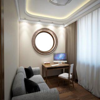 кабинет с крушлым окном
