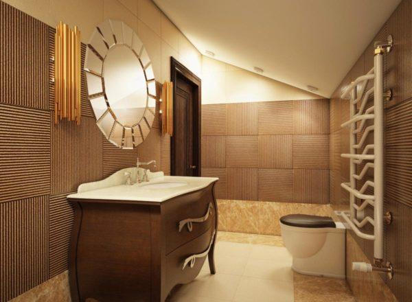 элитная ванная в коричневом цвете