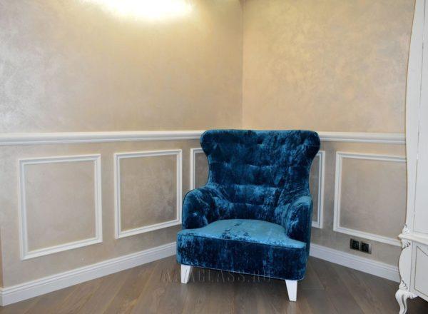 изготовление кресла на заказ по индивидуальным размерам: опоры из массива дуба, обивочная ткань PRADO от мебельного ателье ААА-Классика в Москве