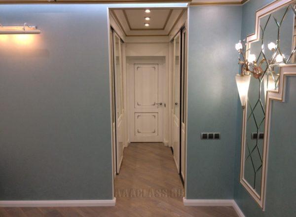 изготовление входных дверей из МДФ с патиной по системе раздвижных дверей в Москве от мебельного ателье ААА-Классика