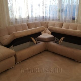 изготовление нестандартного дивана МИЛАН по индивидуальному заказу с ящиками для белья от мебельного ателье ААА-Классика