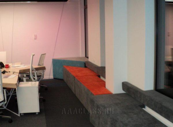 Изготовление мягких стеновых панелей на заказ с подсветкой для офиса 1С-Битрикс