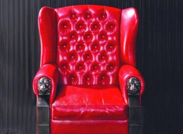 эксклюзивное красное кожаное кресло с каретной стяжкой на заказ по индивидуальным размерам