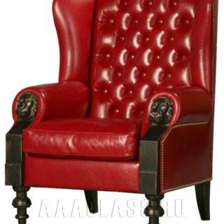 красное кожаное кресло с каретной стяжкой и накладками из дуба на заказ по индивидуальным размерам в Москве