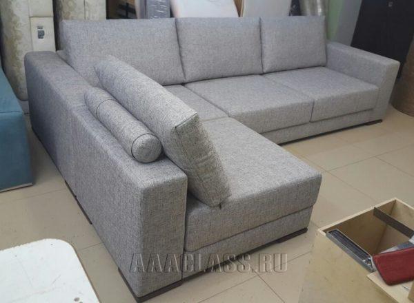 тканевый угловой диван на заказ в сером цвете по индивидуальному проекту