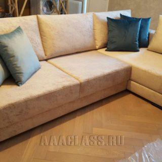 Угловой кожаный диван элитного качества для гостиной на заказ по индивидуальным размерам