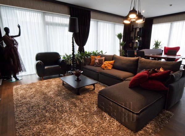 модульный диван на заказ для гостиной в сером цвете