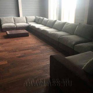 Большой угловой модульный диван для гостиной на заказ в тканевой обивке