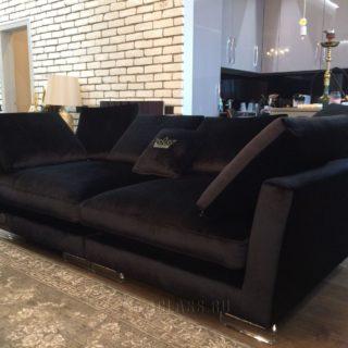 прямой диван Ника на заказ в черной ткани по индивидуальным размерам в мебельном ателье ААА-Классика