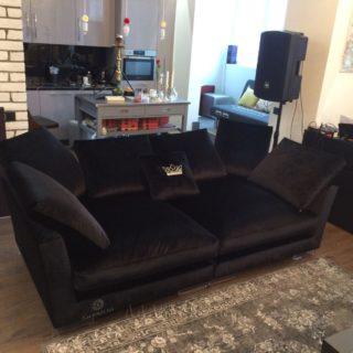 прямой тканевый компактный эксклюзивный диван на заказ по индивидуальным размерам