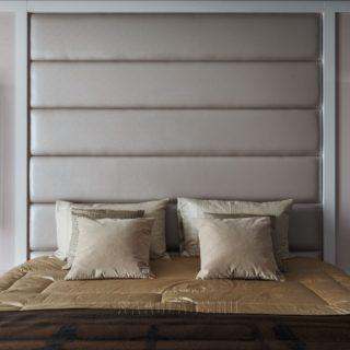изготовление двуспальной кровати на заказ с белым кожаным изголовьем