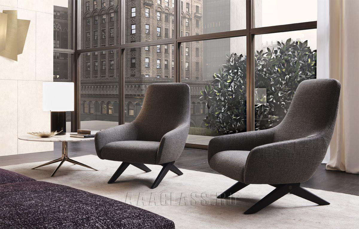 итальянское кресло Marlon Poliform в интерьере гостиной