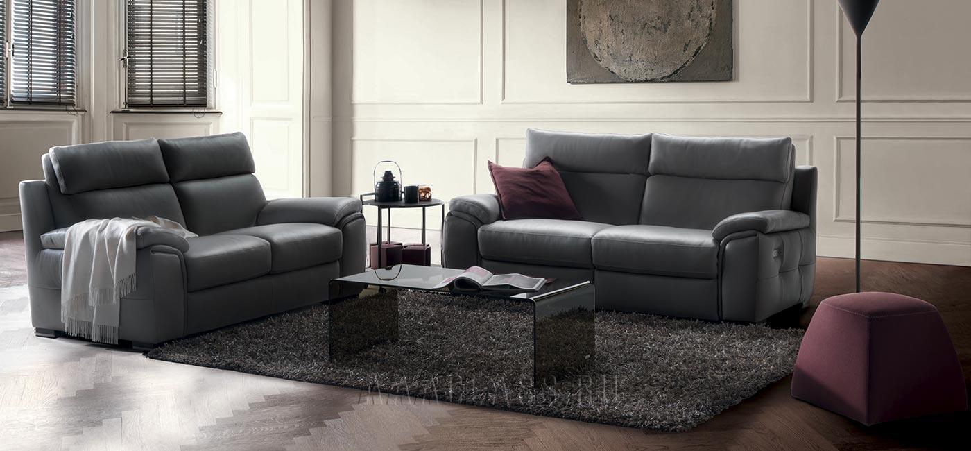 2-х местный кожаный классический диван