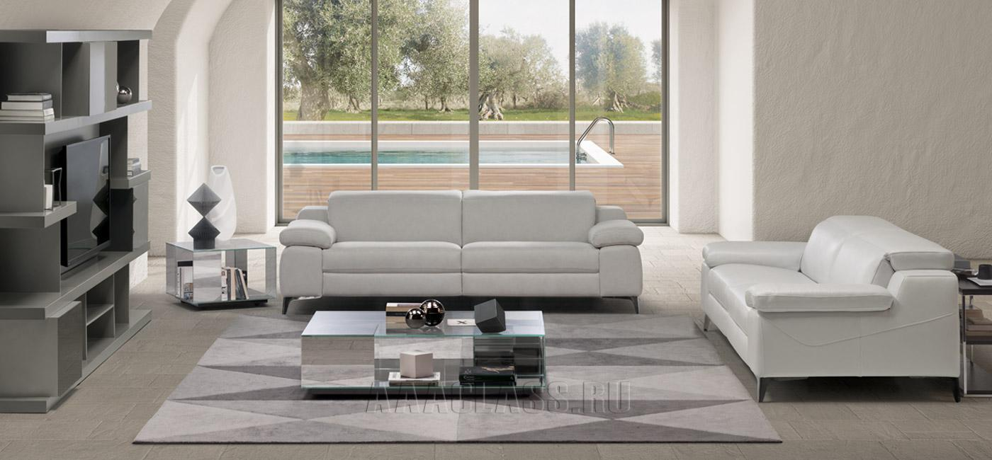 белый кожаный диван фото в интерьере
