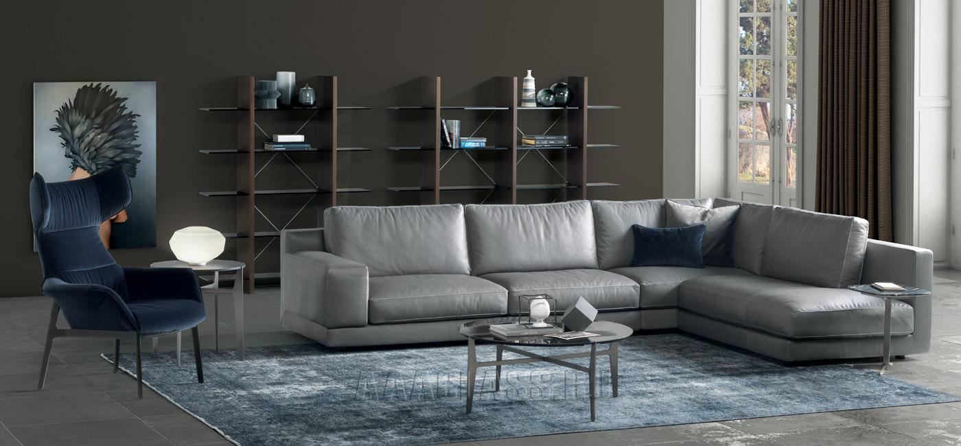 угловой кожаный диван Agora