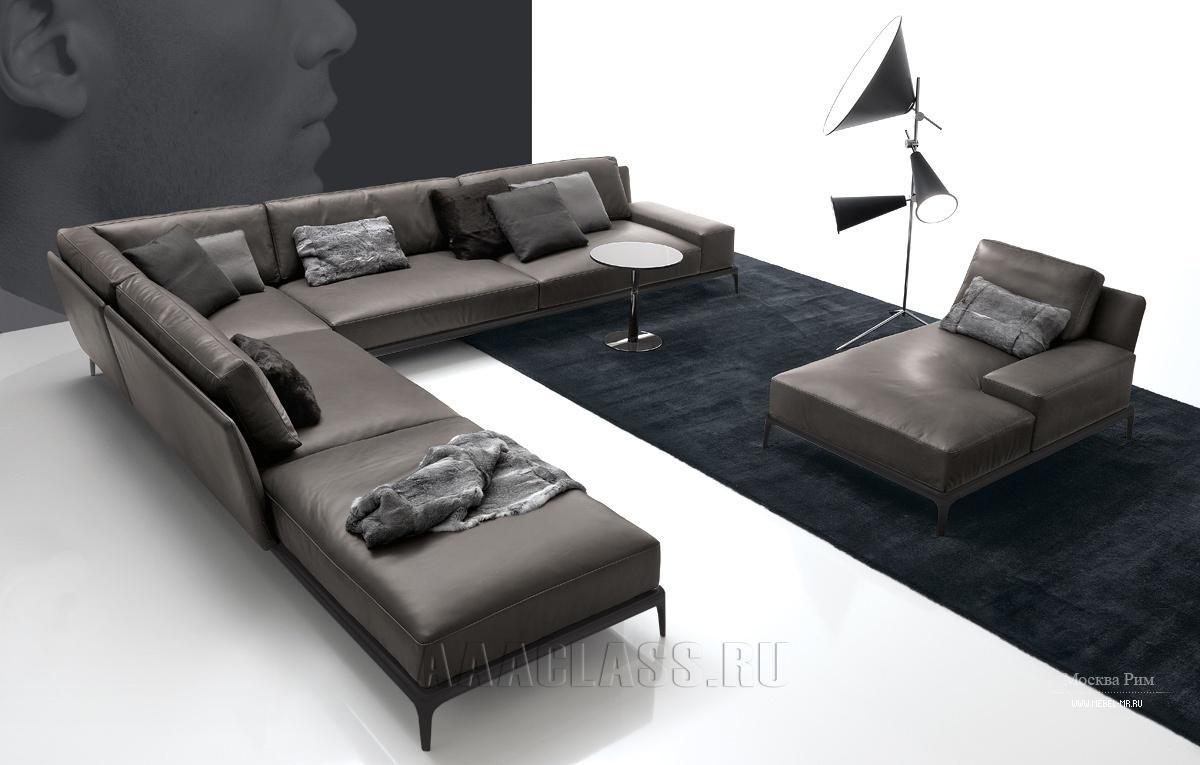 модульный кожаный диван фото в интерьере