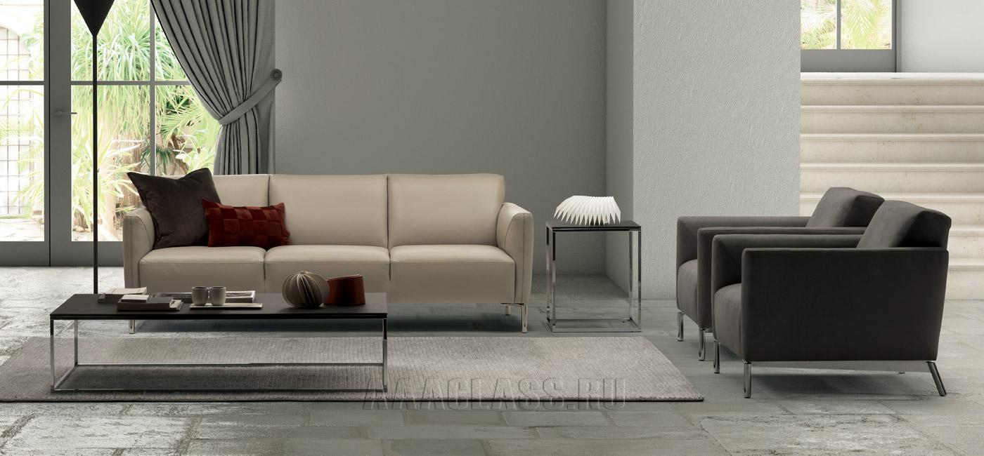 прямой белый кожаный диван фото в интерьере