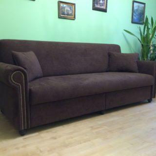 диван в ткани алькантара с наполнением из натурального латекса на заказ по индивидуальным размерам в мебельном ателье ААА Классика